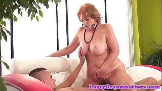 Chubby granny sucking cock..