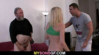 Dad punishes his son's GF