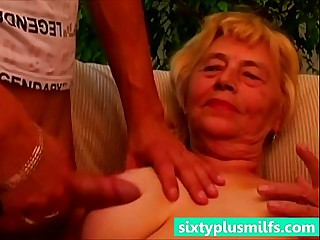 Granny titty fucks her young..
