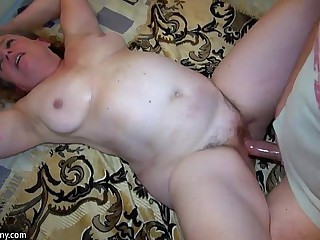 Granny masturbate with young..