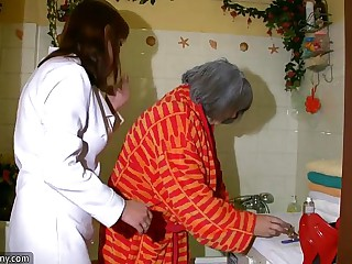 OldNanny Sexy nurse shower..