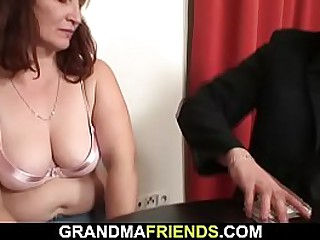 Threesome sex with old granny
